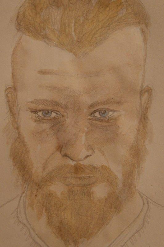 Portrait de Ragnar Lothbrok, aquarelle