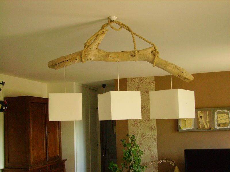 Lustre en bois flotte for Suspension en bois flotte